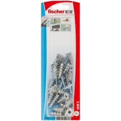 Blister de 20 chevilles métalliques auto-foreuses GKM pour plaque + vis tête fraisée 4,5x35 - Fischer