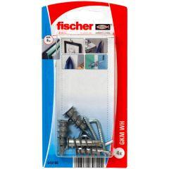 Blister de 4 chevilles métalliques auto-foreuses GKM pour plaque + crochets droits - Fischer