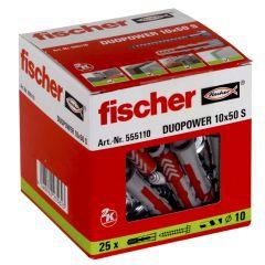 25 Chevilles bi-matière DUOPOWER Ø10 x 50 S + 25 vis 7x65mm - Fischer