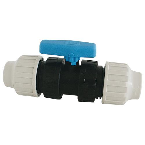Raccord plastique vanne à sphère FemelleFemelle pour Tube PE ou PEHD Ø20