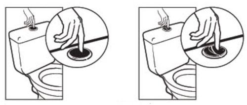 Poussoir et double poussoir wc