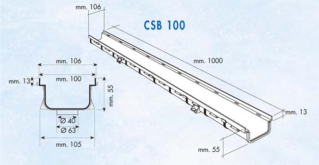 Dimensions caniveau série 100 bas