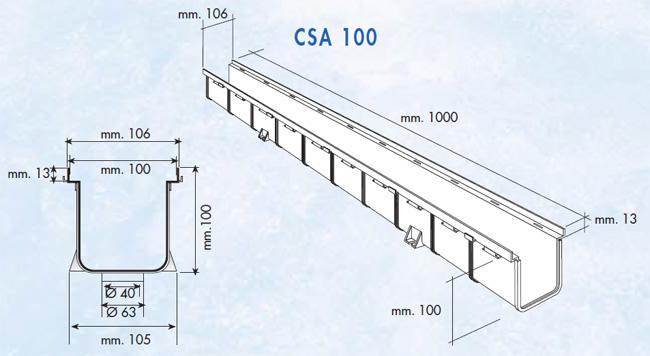 Dimensions caniveau série 100 haut