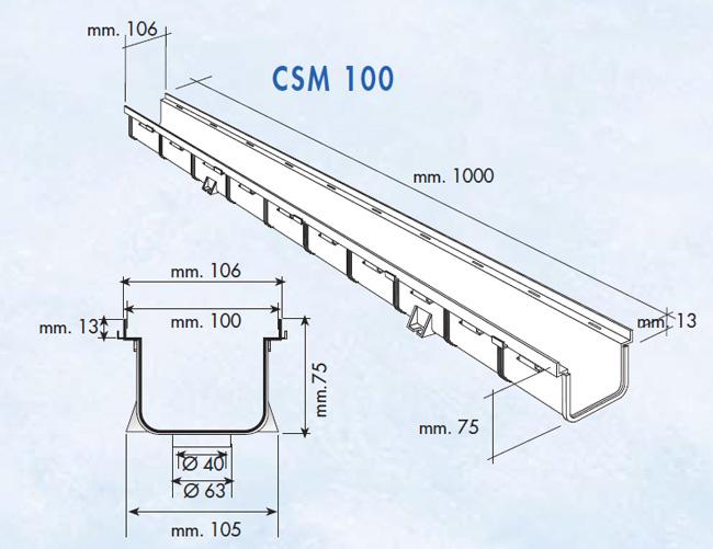 Caniveau pvc s rie 100 moyen 100x75x1000mm for Caniveau piscine miroir