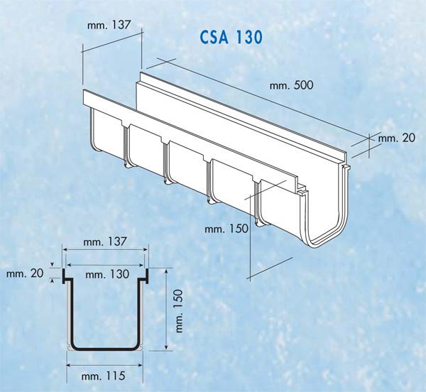 Dimensions caniveau série 130 haut