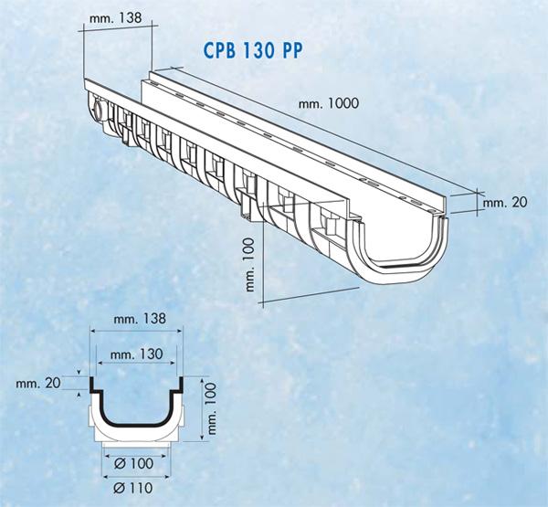 Dimensions caniveau série 130 XL bas