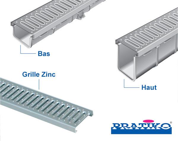 Pack caniveaux PVC Pratiko avec grille zinc