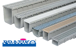 Gamme de caniveaux à grilles en PVC Pratiko