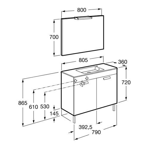 dimension compact DEBBA 800 2 tiroirs