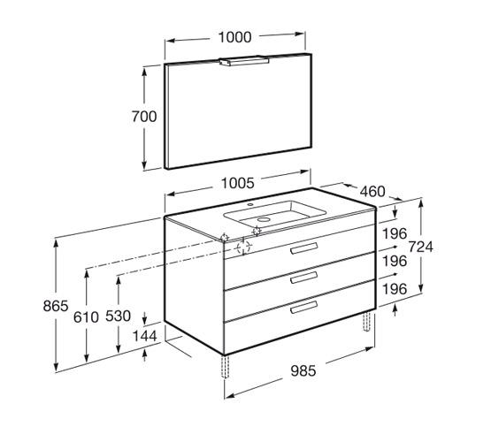 Dimension Pack DEBBA 1000 3 tiroirs