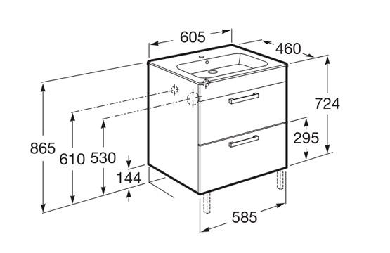 dimension meuble JOLI 600 2 tiroirs