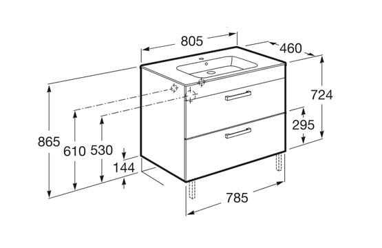 Dimension meuble JOLI 800 2 tiroirs