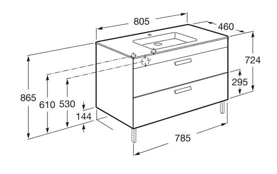 Dimension DEBBA 800 2 tiroirs
