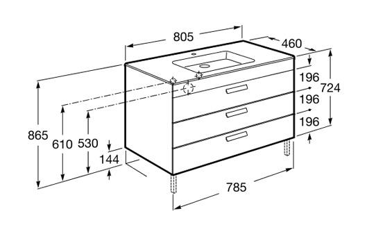 Dimension DEBBA 800 3 tiroirs