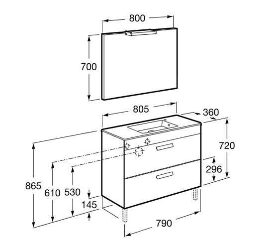 dimension pack DEBBA compact 800 2 tiroirs