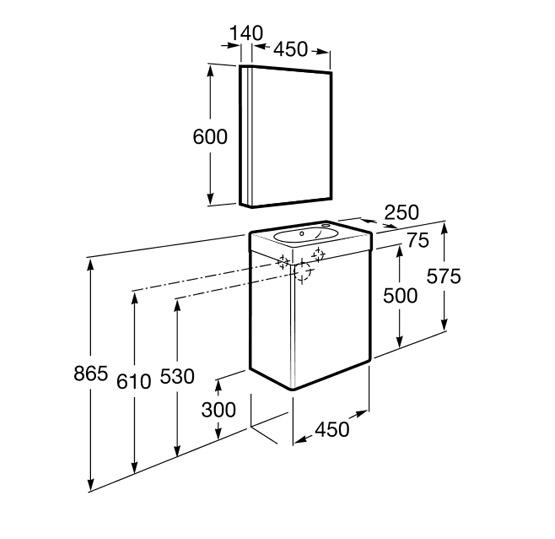 pack unik mini 450 meuble lave mains miroir et armoire de toilette. Black Bedroom Furniture Sets. Home Design Ideas