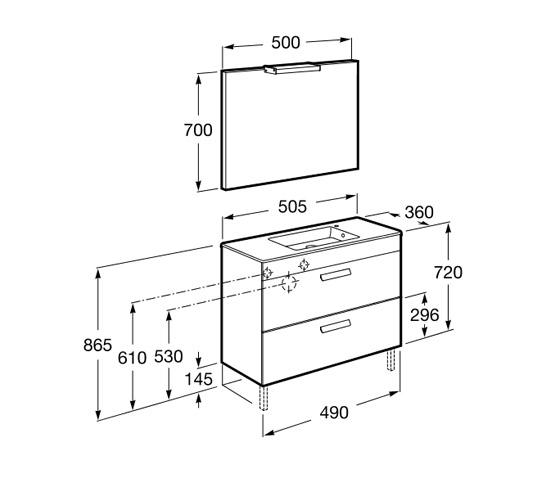 dimension pack compact DEBBA 500 2 tiroirs